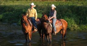 Promenade et traversée de la rivière en cheval