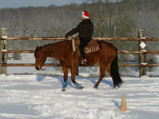 Mel travaillant dans la neige.